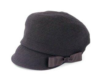 折りたたみOK!上質ウールのリボンキャスケット ブラック(18AWN-008)の画像