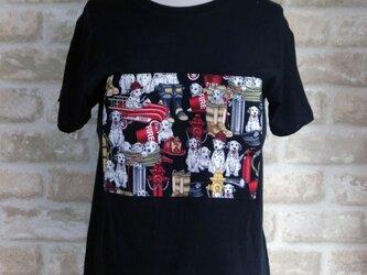 オリジナルTシャツ胸「USAコットンダルメシアン」黒地ラウンドカラーML寸フォーリアの画像