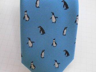 【セール中】ネクタイ ペンギン  シルク(絹)100%の画像