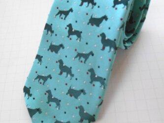 【セール中】ネクタイ シルエット犬  シルク(絹)100%の画像