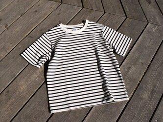 16番手双糸 天竺ボーダー クルーネック Tシャツの画像