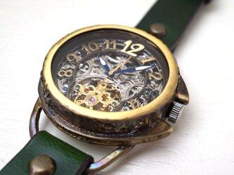 アラベスク AT SV/MOV 真鍮 グリーン 手作り腕時計の画像