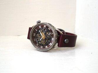 メカニックブラック AT ワインブラウン シルバー 手作り腕時計の画像