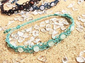 新色追加!天然石のマクラメ編みアンクレット・メンズ【波紋】グリーン系・プレナイトの画像