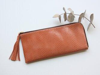 ピッグスキンのスリムで軽い長財布 アプリコットの画像