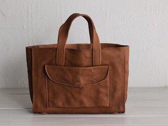 手縫い仕上げ 本革 トートバッグ (ブラウン)の画像