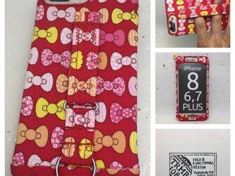布のiPhoneジャケット8Plus,7Plus,6Plus用 リボン 訳あり処分品の画像