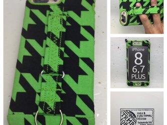布のiPhoneジャケット8Plus,7Plus,6Plus用 千鳥格子黒と黄緑 訳あり処分品の画像