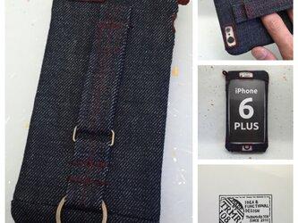 布のiPhoneジャケット8Plus,7Plus,6Plus用 デニムワインレッドの画像