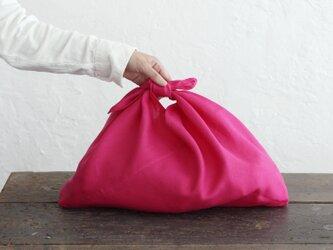 alinのあづま袋 M 50cm かごバッグに リネンあずま袋 マチ付き (ピンク)の画像