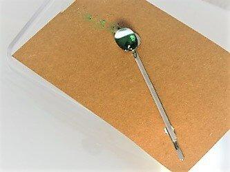 【ガラス】ヘアピン・銀♥白・クリア緑の画像