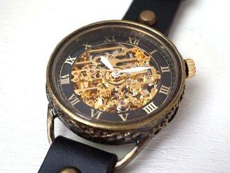 メカニックゴールド AT ブラック 真鍮 手作り腕時計の画像