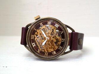メカニックゴールド AT ワインブラウン 真鍮 手作り腕時計の画像