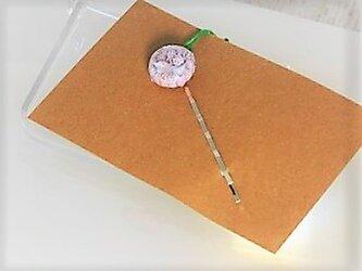 【ガラス】ヘアピン・銀♥ミルフィオリピンク・円の画像