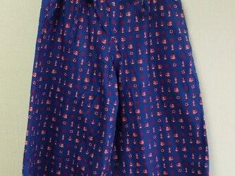 マリン柄 ガウチョパンツ両脇ポケット付き 綿100% M~LLサイズ 明るい紺 受注生産の画像