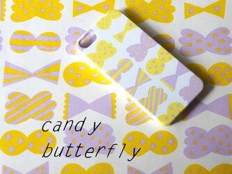 ハード型スマホケースcandy butterfly(yellow×smokypurple)*iPhoneAndroid各機種対応の画像