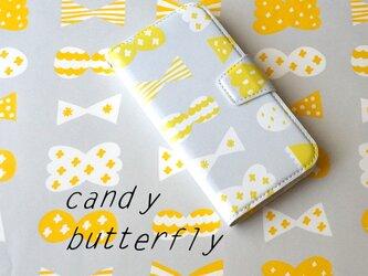 帯あり手帳型スマホケースcandy butterfly(lightgrey×bitterlemon)iPhone/Androidの画像