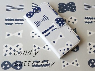 帯あり手帳型スマホケース candy butterfly(whitegrey×deepblue)*iPhoneAndroid対応の画像