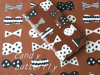 帯あり手帳型スマホケース candy butterfly (brown×black)【iPhone/Android各機種対応】の画像