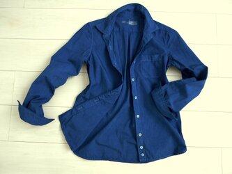 ◆100%自然素材 天然灰汁発酵建て 本藍染◆ オーガニックコットン100% ブロード長袖シャツの画像