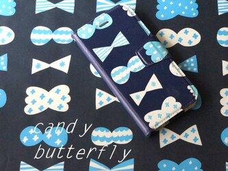 帯あり手帳型スマホケース candy butterfly(deepblue×blue)【iPhone/Android各機種対応】の画像