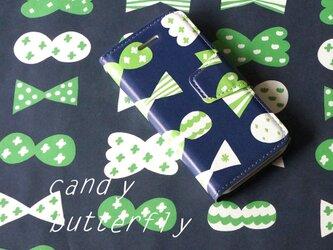 帯あり手帳型スマホケースcandy butterfly(deep blue×green)【iPhoneAndroid各機種対応】の画像