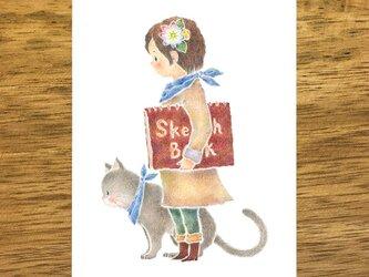 """4枚セット。絵本のような。ポストカード """"ミクルと猫のモモ"""" PC-417の画像"""