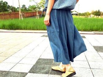Mサイズ80cm丈、上質リネンのスモーキ―ブルー、ワイドキュロット、スカーチョの画像