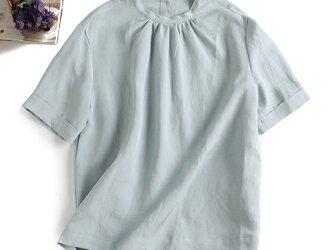 f8080901 綺麗な色 シルクと麻の生地 最高な気心地 半袖 後ろボタン ブラウスの画像
