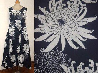 Sold Out浴衣リメイク♪大輪の菊が涼しそう浴衣チュニックワンピース♪裾変形♪ハンドメイド・夏ワンピースの画像