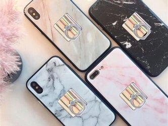 新作☆スクエア 大理石 iPhoneケース♪ 全4色 バンカーリング付き iPhone8 iPhone8Plus iPhoneXの画像
