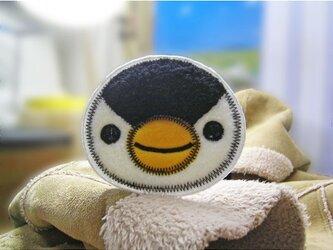 ★大きなお顔のペンギンさん★もこもこワッペン★アイロン★白黒1枚-10の画像