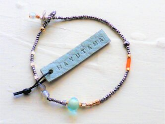 フランスアンティーク×10金glassbracelet(opal) 送料無料の画像