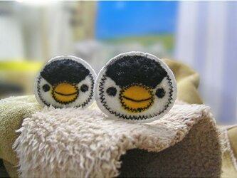 ★ちいさなお顔のペンギンさん★もこもこワッペン★アイロン★白黒2枚-4の画像