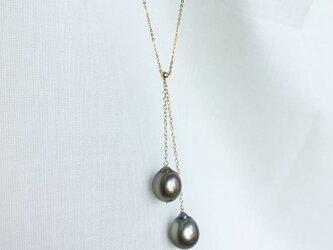 【K14GF】2粒タヒチ黒蝶真珠ネックレスの画像
