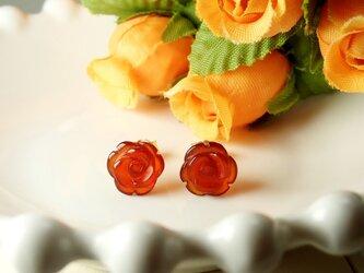 *P115*天然石レッドアゲートAAA(薔薇)☆スタッドピアス(濃)の画像