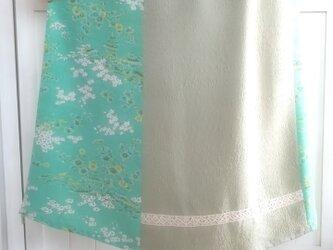♡ミントグリーンのバイカラースカート♡着物リメイク♡の画像