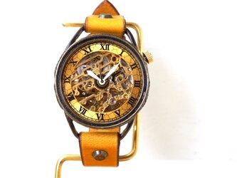 メカニックゴールド AT イエロー 真鍮 手作り腕時計の画像