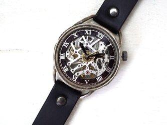 メカニックシルバー AT ブラック シルバー 手作り腕時計の画像