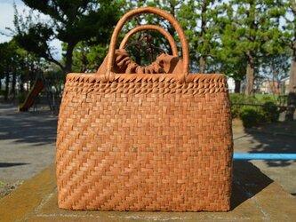 山葡萄(やまぶどう)籠バッグ | 網代編み | 巾着と中布付き | (約)幅35cmx高さ27cmx奥行13cmの画像