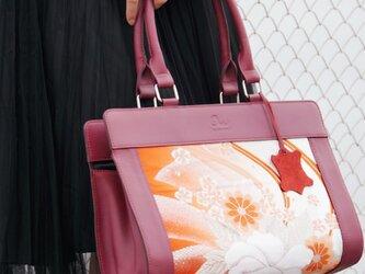 アンティーク帯と牛革のバッグ ワインx花の画像