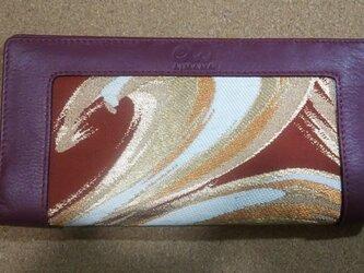 アンティーク帯と牛革の長財布 ワインx波の画像