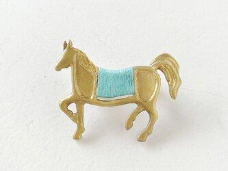 馬ブローチ(緑)の画像