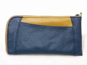ハーフラウンド型 長財布(ブルー×イエロー)の画像