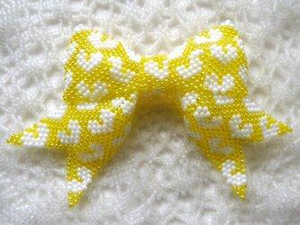 ハート柄のリボン【黄色】の画像