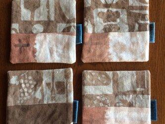 柿渋染めコースター4枚セット  パンモチーフのパッチワークの画像