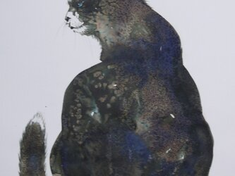 渋い猫(墨絵、水彩画用紙24,3cm×35,2cm)の画像