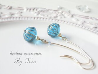 ‥∽ Oriental Wind ∽‥Czech glass ピアス。の画像