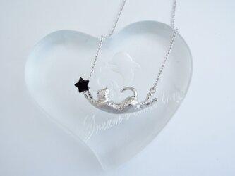 SALE! 猫 オニキス スター シルバーペンダントの画像