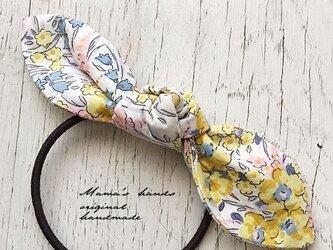 リバティ 黄色い花 リボン ヘアゴム♪の画像